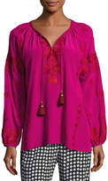 Figue Serena Embroidered Tassel-Tie Top, Pink
