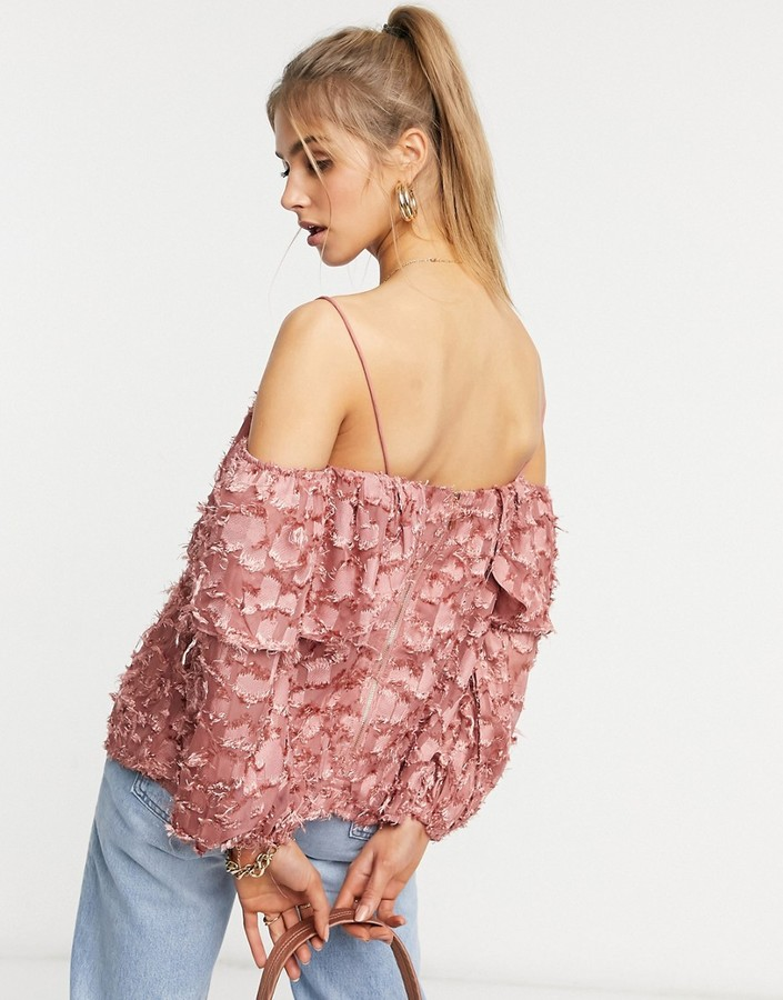 Thumbnail for your product : Forever U cold shoulder top in textured dusty pink