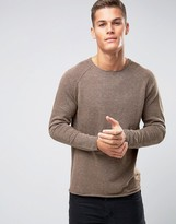 Selected Lightweight Knitted Sweater with Raw Edge