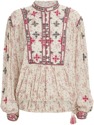 Etoile Isabel Marant Ivayo Embroidered Floral Blouse
