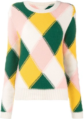 Chinti and Parker Colour-Block Argyle Knit Sweater