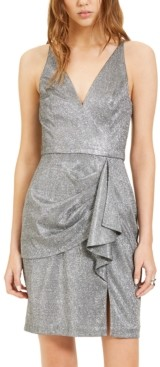 Blondie Nites Juniors' Ruffled Metallic Sheath Dress