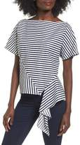 J.o.a. Stripe Ruffle Trim Top