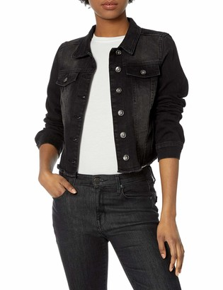 Dollhouse Women's Black Destructed Frayed Denim Jacket
