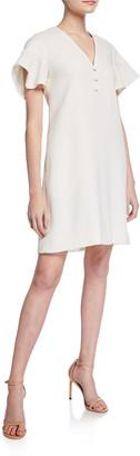 Lela Rose Handkerchief-Sleeve Tunic Dress