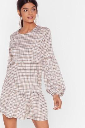 Nasty Gal Womens In Check Ruffle Mini Dress - Brown