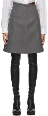 Sportmax Grey and Brown Wool Brasile Mid-Length Skirt