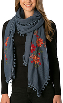 Pure Style Girlfriends Blue Floral Embroidered Pom-Pom Scarf