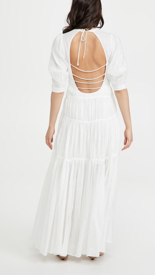 Thumbnail for your product : Jonathan Simkhai Fira Ruched Paneled Open Back Maxi Dress