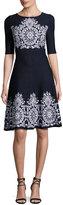 St. John Nellore Jacquard Knit Flared Dress, Navy