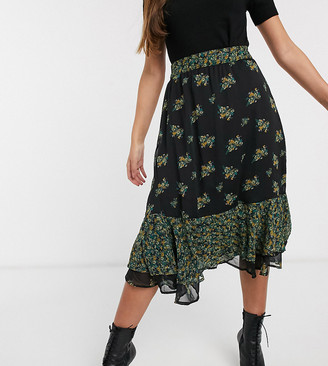 Y.A.S high waist floral midi skirt with frill hem