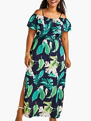 Yumi Curves Palm Print Maxi Dress With Side Splits, Navy/Multi