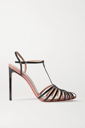 Francesco Russo Color-block Patent-leather Sandals - Black