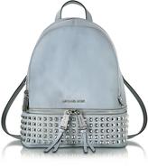 Michael Kors Rhea Zip Dusty Blue Leather Medium Backpack w/ Pyramid Studs