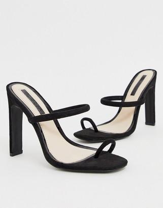 Miss Selfridge toe post tubbed stiletto in black