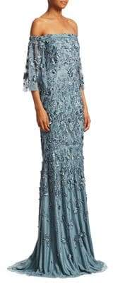 Theia Women's Embellished Off-The-Shoulder Gown - Icy Blue - Size 12