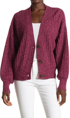 ALL IN FAVOR Marled V-Neck Balloon Sleeve Cardigan
