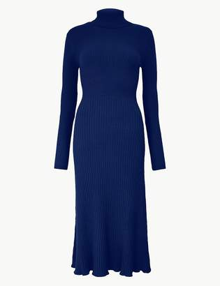 Marks and Spencer Ribbed Fit & Flare Knitted Dress