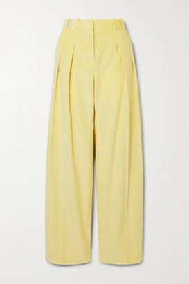 Victoria Victoria Beckham Pleated Cotton-corduroy Wide-leg Pants - Pastel yellow