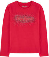 Pepe Jeans Logo T-shirt with rhinestones