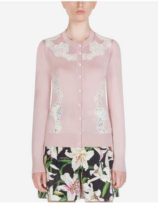 Dolce & Gabbana Cashmere And Silk Cardigan With Lace Details