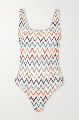 Missoni Mare Metallic Picot-trimmed Crochet-knit Swimsuit - White