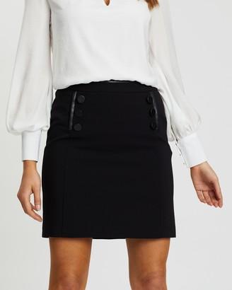 Wallis Cotton Luxe Button A-Line Skirt
