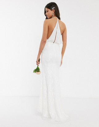 Jarlo bridal fringe sequin maxi dress in ivory