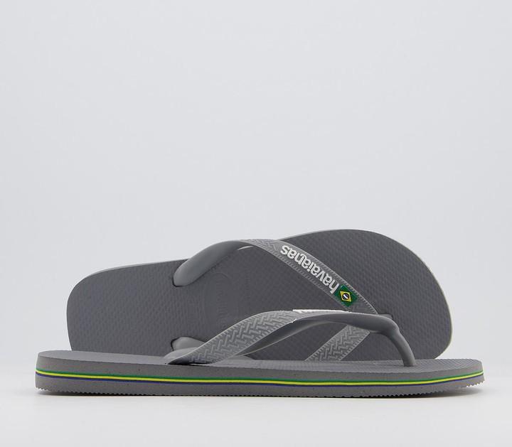 Havaianas Brasil Logo Flip Flops Steel Grey Steel Grey