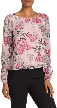 Cupcakes And Cashmere Terra Floral Chiffon Long Sleeve Blouse