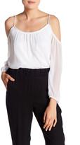 Kensie Cold-Shoulder Chiffon Blouse
