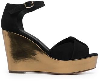 Tila March Metallic-Tone Wedge-Heel Sandals