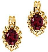 Gem Stone King 2.82 Ct Oval Red Rhodolite Garnet and Diamond 18k Yellow Gold Earrings