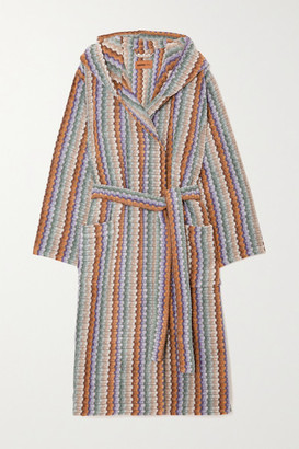 Missoni Home Yvar Striped Hooded Belted Cotton-terry Robe - Green