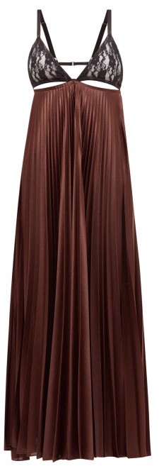 Christopher Kane Lace-bodice Pleated Satin Maxi Dress - Brown