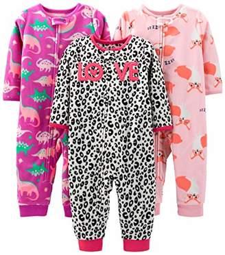 Carter's Simple Joys by Girls' 3-Pack Loose Fit Flame Resistant Fleece Footless Pajamas