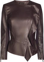 Karen Millen Frill Drape Leather Jacket