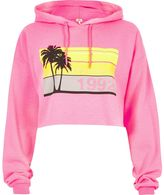 River Island Womens Pink palm tree print cropped hoodie