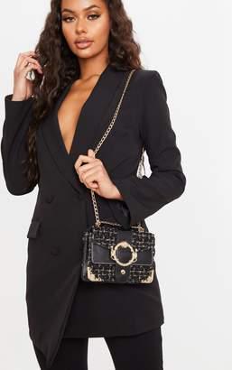 PrettyLittleThing Black Tweed Gold Trim Chain Cross Body Bag