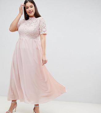 John Zack Plus High Neck Cutwork Lace Top Maxi Dress