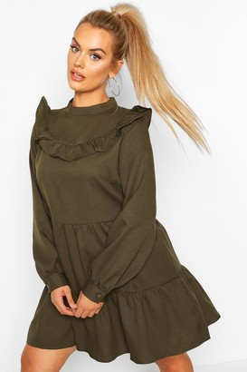 boohoo Plus High Neck Ruffle Tiered Smock Dress