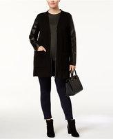 MICHAEL Michael Kors Size Faux-Leather-Trim Cardigan Jacket