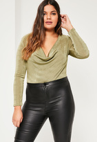 Missguided Plus Size Green Cowl Neck Bodysuit