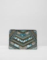 Little Mistress Blue Sequin and Gold Embellished Clutch