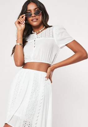 Missguided White Co Ord Lace Panel Crop Top
