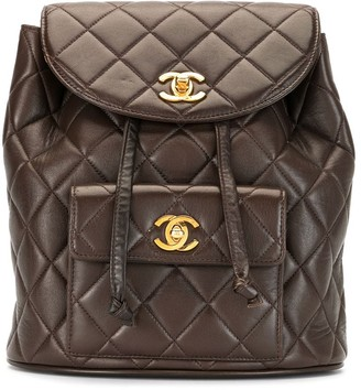 Chanel Pre Owned 1995 Diamond Quilt Drawstring Backpack