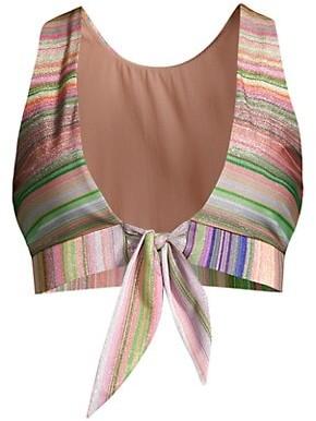 PQ Metallic Stripe Tie-Front Bikini Top