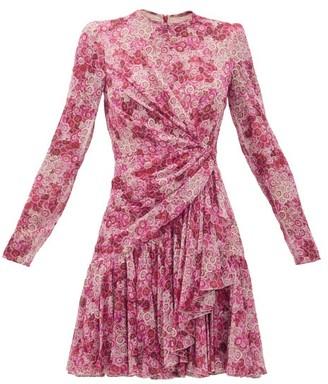 Giambattista Valli Draped Floral-print Silk-georgette Mini Dress - Womens - Pink Print