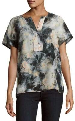 Lafayette 148 New York Lula Split V-Neck Printed Blouse