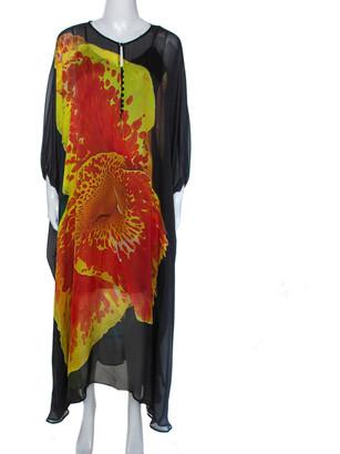 Roberto Cavalli Black Floral Print Silk Kaftan L
